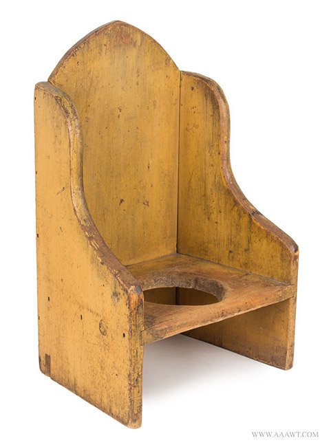 Antique Childs Arched Wingback Necessary Chair/Potty Chair, 19th Century,  Angle View