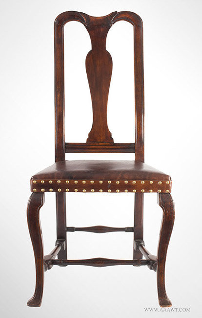 Antique Queen Anne Side Chair with Leather Upholstered Seat, New England, Circa 1740, entire view