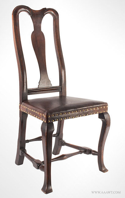 Antique Queen Anne Side Chair with Leather Upholstered Seat, New England, Circa 1740, angle view