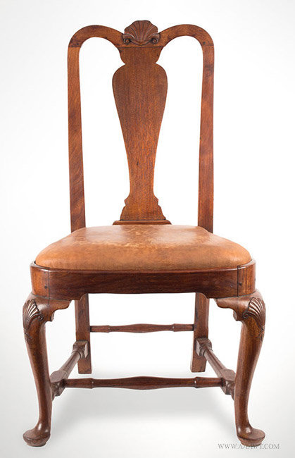 Antique Queen Anne Side Chair With Shell Carved Crest And Knees, Circa  1750, Entire