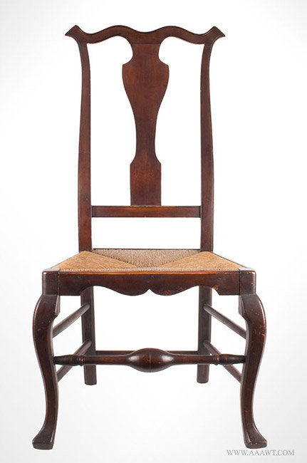 Antique Queen Anne Side Chair with Vasiform Splat, Circa 1745, entire view