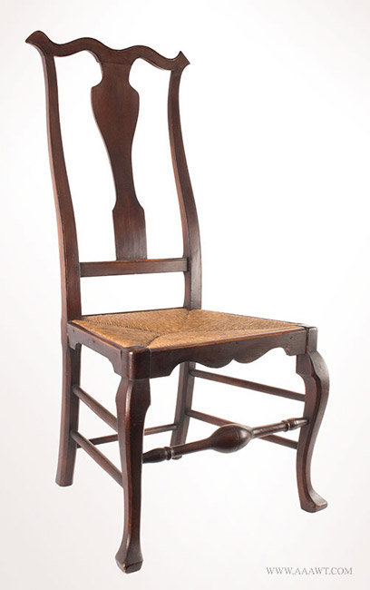 Antique Queen Anne Side Chair with Vasiform Splat, Circa 1745, angle view