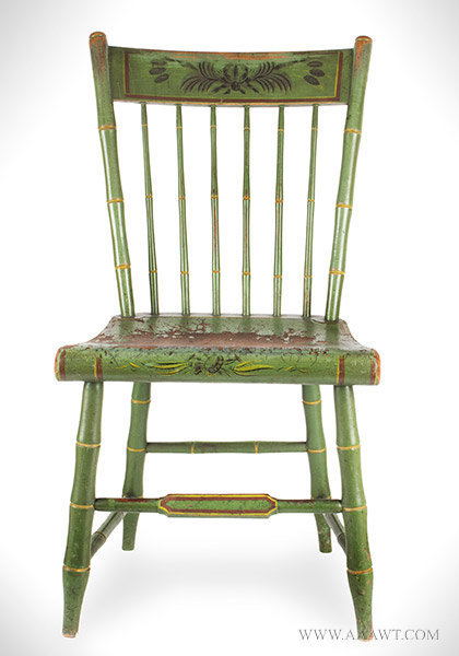 Antique Youth's Windsor Side Chair with Original Paint and Decoration, Circa 1825, entire view