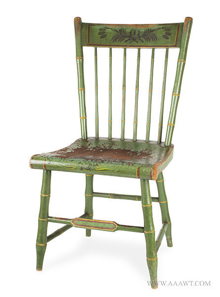 Antique Youth's Windsor Side Chair with Original Paint and Decoration, Circa 1825, angle view