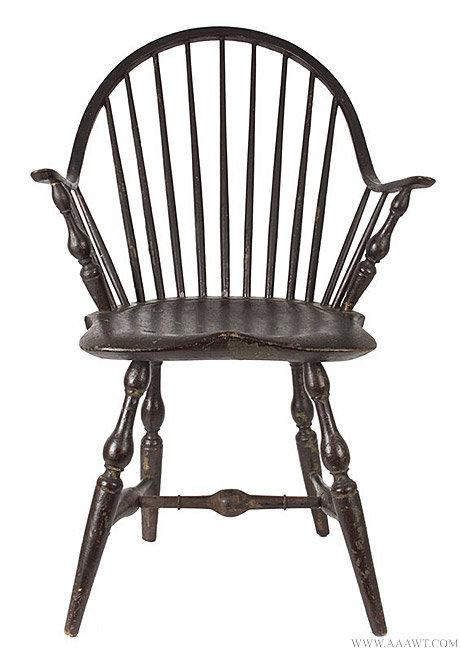 Antique Continuous Arm Windsor Chair, Rhode Island, Circa 1780, Entire View