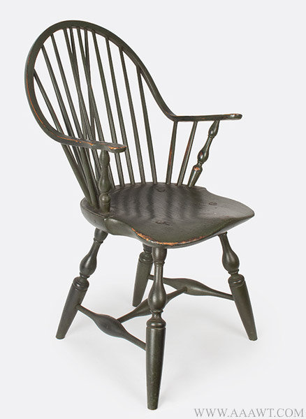 Antique Green Painted Continuous Arm Windsor Armchair, angle view