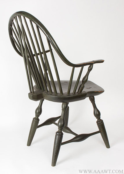 Antique Green Painted Continuous Arm Windsor Armchair, Rear Angle View
