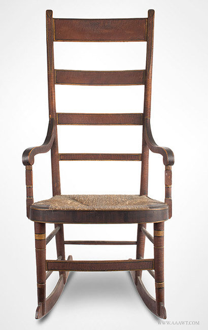 Antique Fancy Windsor Rocking Chair in Original Paint, American, entire view - Antique Furniture_Chairs, Early, Country, Pilgrim, American