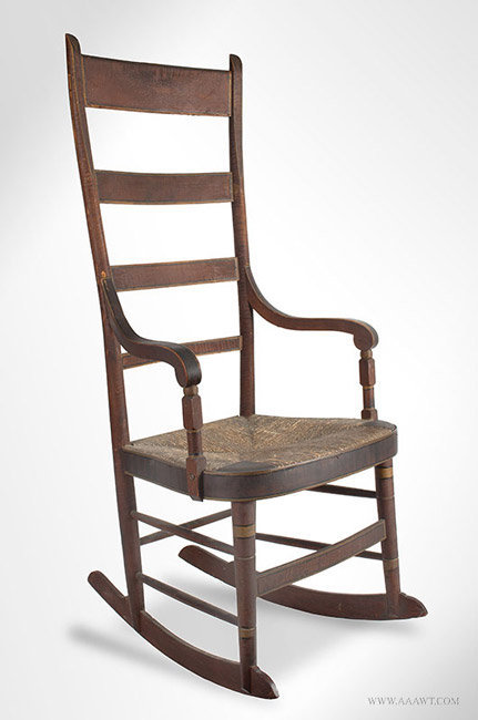 Antique Fancy Windsor Rocking Chair in Original Paint, American, angle view - Antique Furniture_Chairs, Early, Country, Pilgrim, American