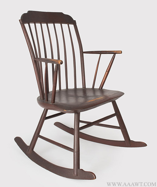 Antique Windsor Rocking Armchair, New England, 1820ish, angle view - Antique Furniture_Chairs, Early, Country, Pilgrim, American