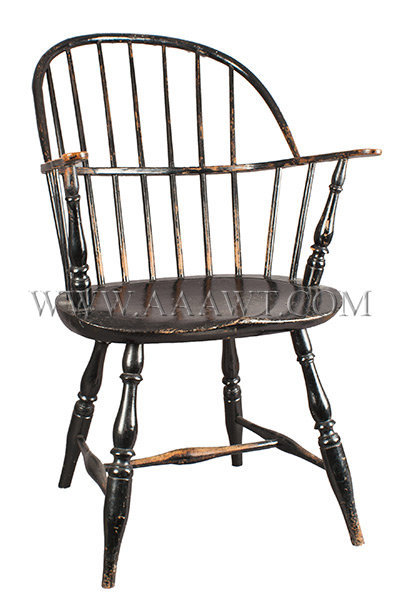 Windsor Sack Back Arm Chair, Old Black Painted Surface, Robust Turning