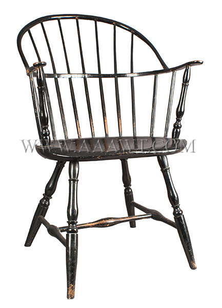 Windsor Sack Back Arm Chair, Old Black Painted Surface Over Green New England Circa 1800, entire view