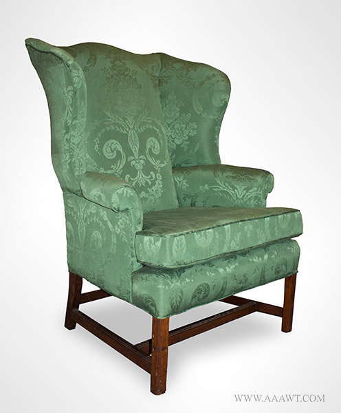 Antique Transitional Wing Chair  Probably Massachusetts  Circa 1790 to  1800  angle viewAntique Furniture Chairs Formal  Upholstered  Sofas. Antique Queen Anne Upholstered Chairs. Home Design Ideas
