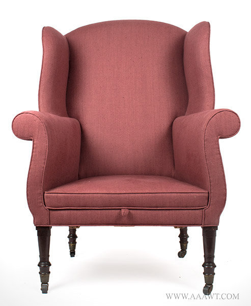 Antique Sheraton Wing Chair with Recent Upholstery, Circa 1820, entire view - Antique Furniture_Chairs Formal, Upholstered, Sofas