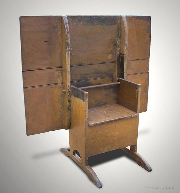 Antique Chair/Hutch Table with Rectangular Top and Shoe Feet, Circa 1820, open angle view
