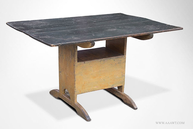 Antique Chair/Hutch Table with Rectangular Top and Shoe Feet, Circa 1820, closed angle view