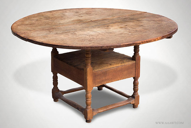 Antique Chair Table with Robust Turnings, New England, 18th Century, closed angle view