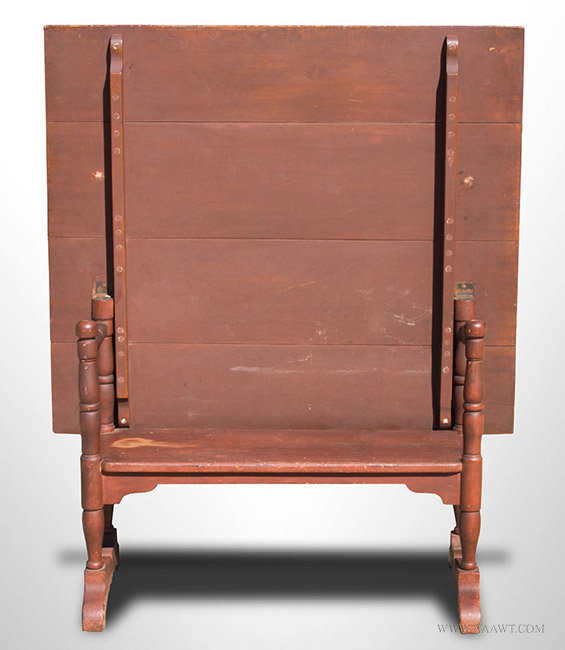 Antique Red Painted Hutch Table, New England, Circa 1830u0027s, Top Up Angle  View