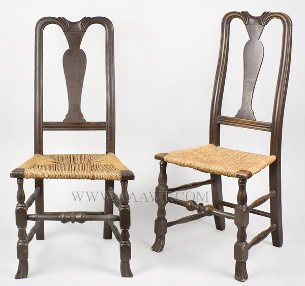 Queen Anne Side Chairs, Assembled Pair, Carved Yoke, Spanish Feet New England 18th Century, pair view