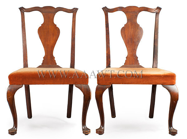 Pair Queen Anne Side Chairs, Mahoganized Birch, Great Old Surface Over Upholstered Probably Newburyport, Essex County Massachusetts 18th Century, entire view