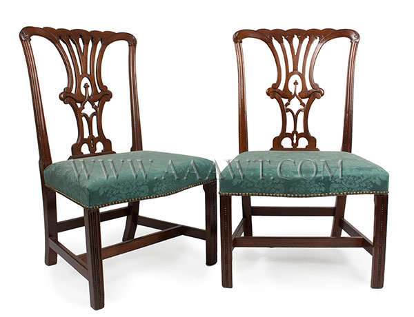 Chippendale Side Chairs, Pair, Carved Mahogany, Old Dry Surface