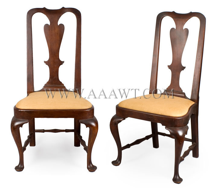 Chairs, Queen Anne, Balloon Seats Connecticut, Norwich or East Hartford  Circa 1755 - - Antique Furniture Ct Antique Furniture