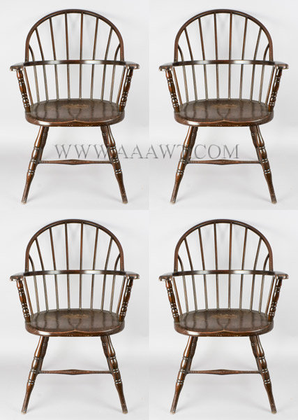 Armchairs, Steel Windsors, Set of Four, Paint Decorated, Industrial, All Metal By Simmons for Eastern Scientific (Medical Supply Company) Providence, Rhode Island Circa 1926, entire view