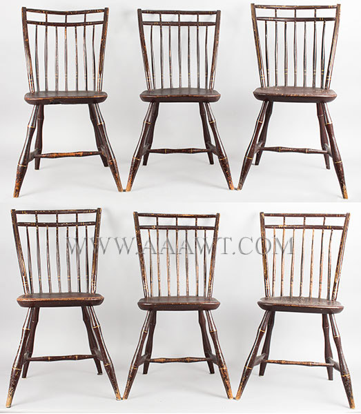 Windsor Rod Back Chairs with Birdcage Crests, Shaped Seats, Bamboo Turning