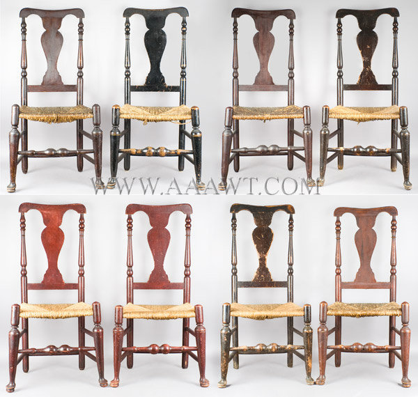 Queen Anne Side Chairs, Set of Eight, Painted, Possibly Same Shop Lower Hudson River Valley, Long Island Sound New York, Circa 1800, group view
