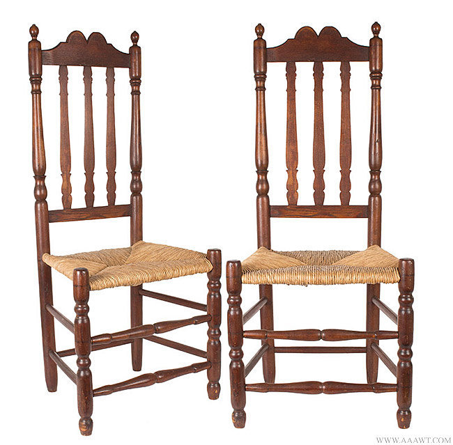Antique Pair of Banister Back Side Chairs, New England, 18th Century, pair view