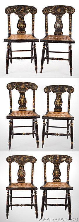 Antique Matched Set of Six Painted Fiddle Back Side Chairs, Circa 1830 to 1850, group view