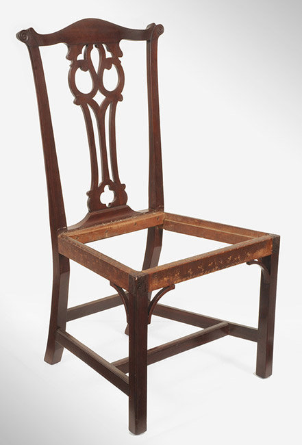 Antique Set of Six Chippendale Mahogany Side Chairs, Connecticut, Circa 1770 to 1790, angle view