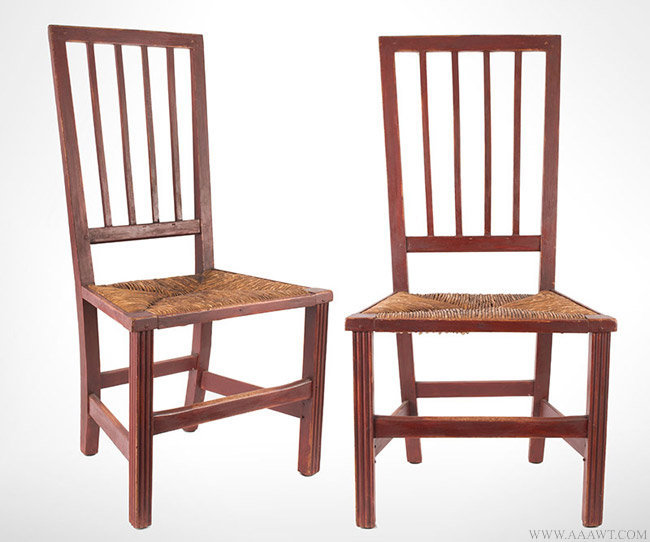 Antique Pair of Chippendale Square Back Side Chairs in Original Red Paint, Circa 1780, pair view
