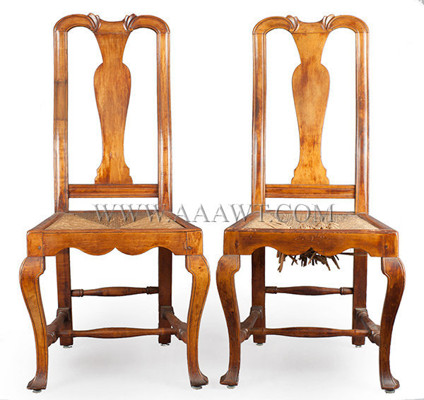 Pair of Carved Queen Anne Side Chairs, Shaped Seat Rail, Scratch Incised Legs New England  18th Century, entire view