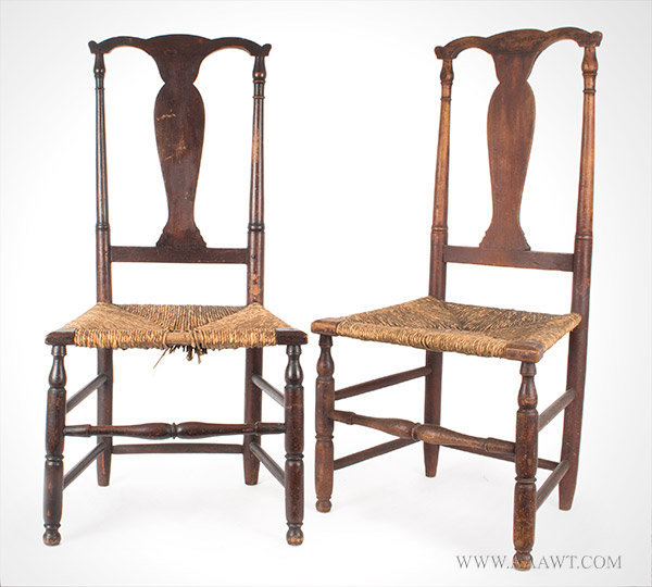 Pair of Fiddle Back Antique Queen Anne Side Chairs, 19th Century, pair view - Antique Furniture_Chairs, Early, Pilgrim, American