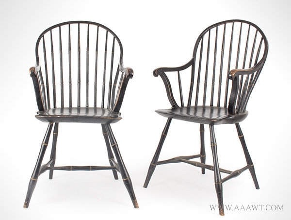 Antique Matched Pair of Windsor Armchairs, Rhode Island, Circa 1800, pair  view - Antique Furniture_Chairs, Early, Country, American