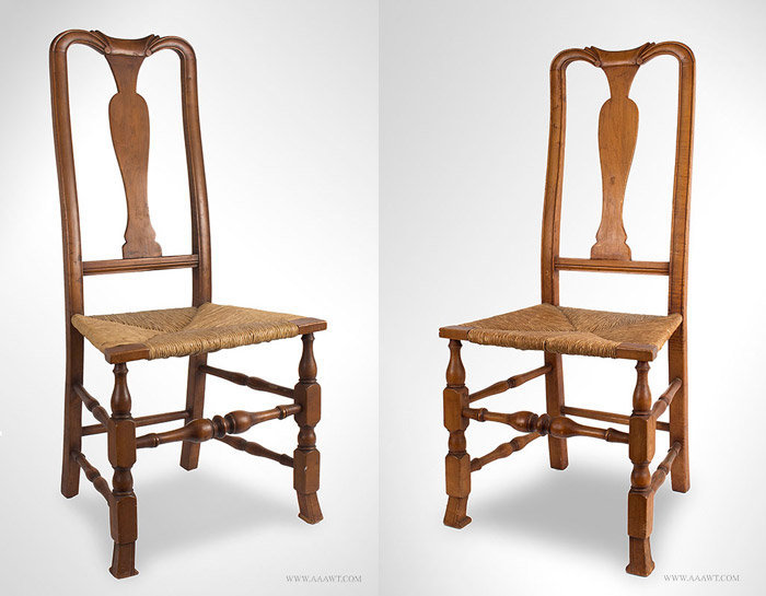 antique pair of queen anne chairs with spanish feet 18th century angle views - Queen Anne Chair. Grandfather Victorian Style Queen Anne Chair