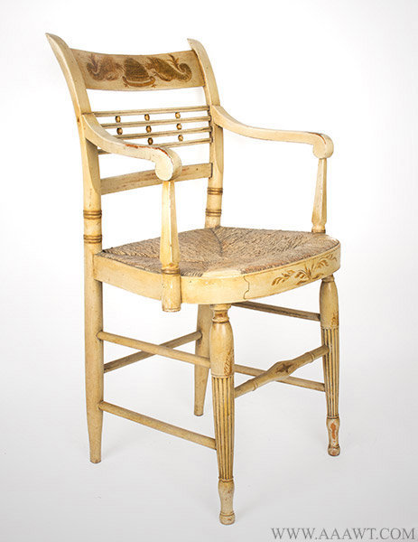 Set of Six Sheraton Chairs, Original White Paint, Circa 1810, armchair angle view