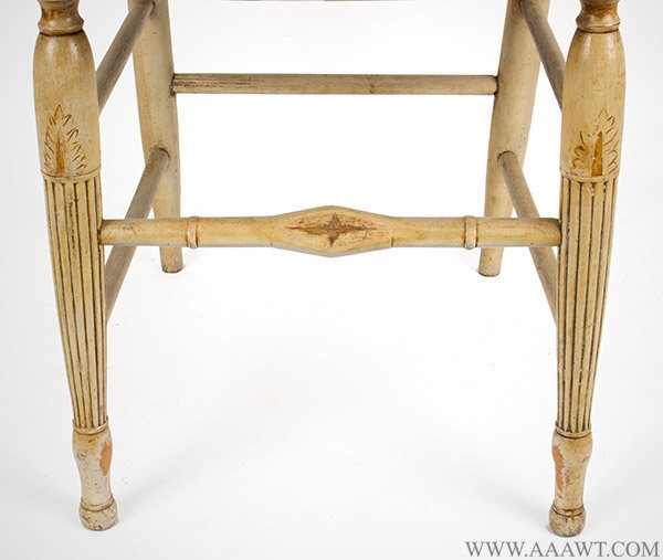 Set of Six Sheraton Chairs, Original White Paint, Circa 1810, stretcher detail