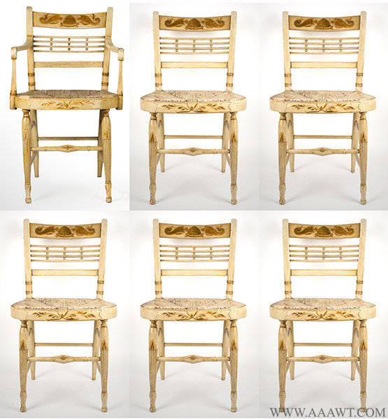 Set of Six Sheraton Chairs, Original White Paint, Circa 1810, set view