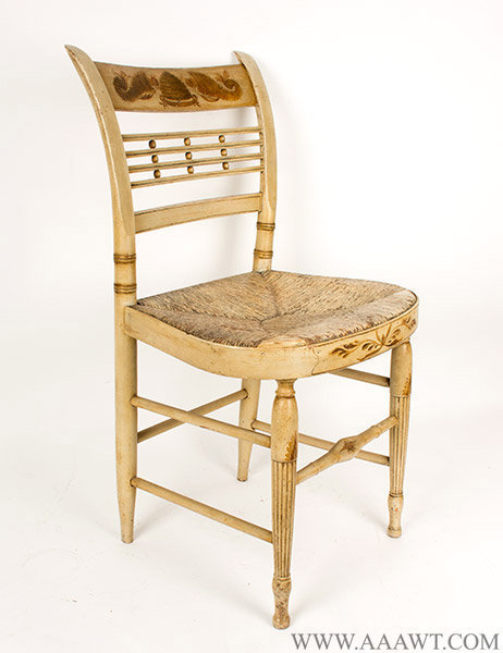 Set of Six Sheraton Chairs, Original White Paint, Circa 1810, side chair angle view