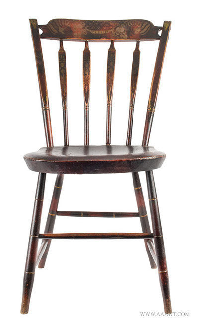Antique Matched Set of Six Windsor Side Chairs in Original Paint, 1820 to 1830, single entire view