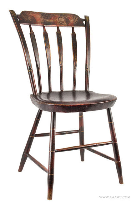 Antique Matched Set of Six Windsor Side Chairs in Original Paint, 1820 to  1830, - Antique Furniture_Chairs, Early, Pilgrim, American