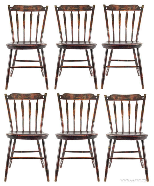 Antique Matched Set of Six Windsor Side Chairs in Original Paint, 1820 to 1830, group view