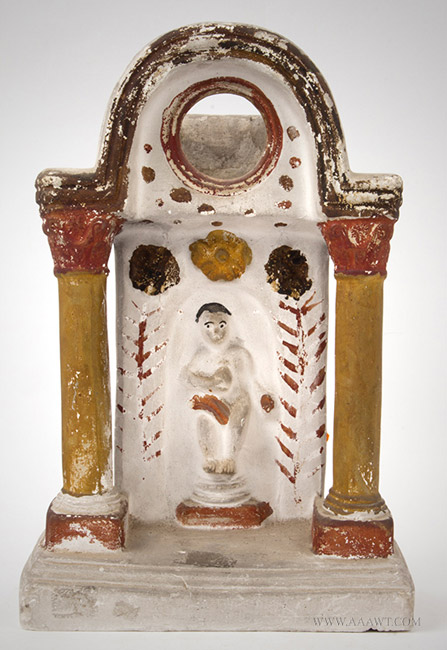 Antique Chalkware Watch Hutch, Figure in a Pillared Grotto, 19th Century, entire view