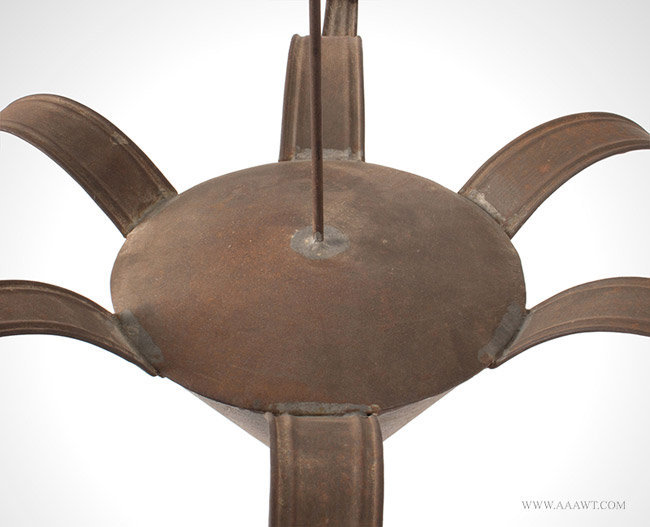 Antique Six Light Chandelier made from Tinned Sheet Iron, 19th Century, center detail