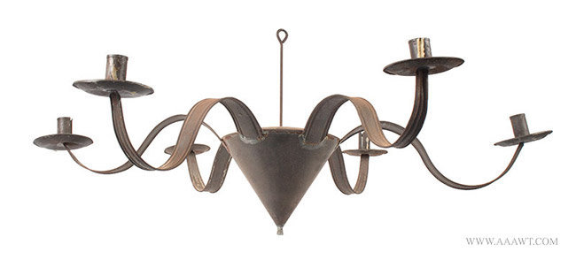 Antique Six Light Chandelier made from Tinned Sheet Iron, 19th Century, underside view