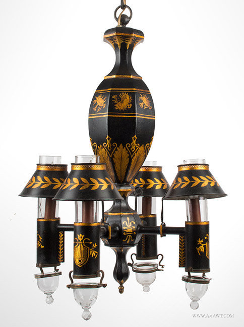 Antique French Tole Chandelier, Four Light Hanging Fixture, Circa 1900, close up view
