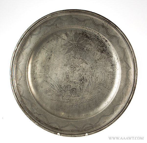 Antique Pewter Charger with Wriggle Worked Rim and Engraved Decoration, 18th Century, entire view