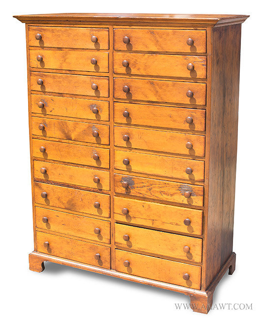 Chest of Drawers, Collector's Chest, 20 Drawers, Tall Chest New England, 19th Century, angle view